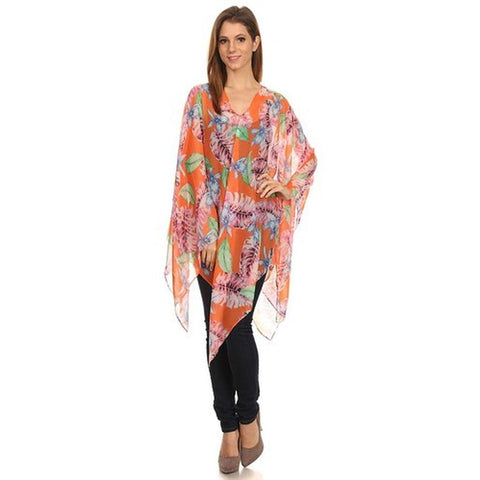 Womens Palm Trees Summer Poncho Cover Up - Stylemindchic Boutique - Curated Collections - 1