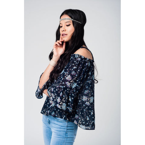Navy cold shoulder ruffled top with floral print