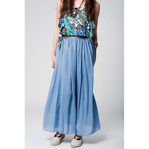 Long blue skirt with golden waistband