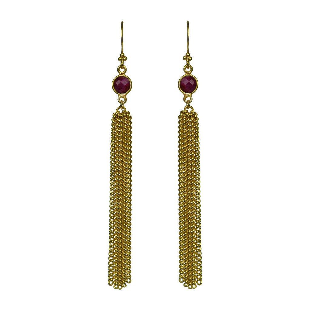 Ruby Chain Tassel Earrings - Stylemindchic Boutique - Curated Collections - 1