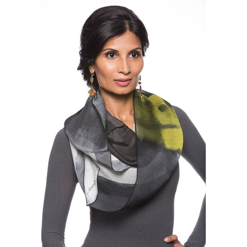 Ellen Brook Silk Infinity Scarf in Black and White by Ellen Brook