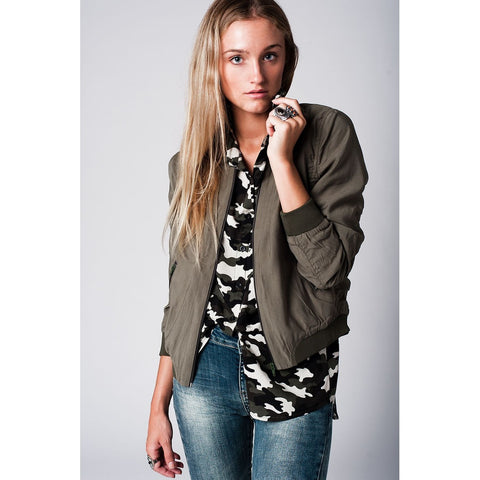 Slim Smart Bomber in Khaki Tencel Fabric