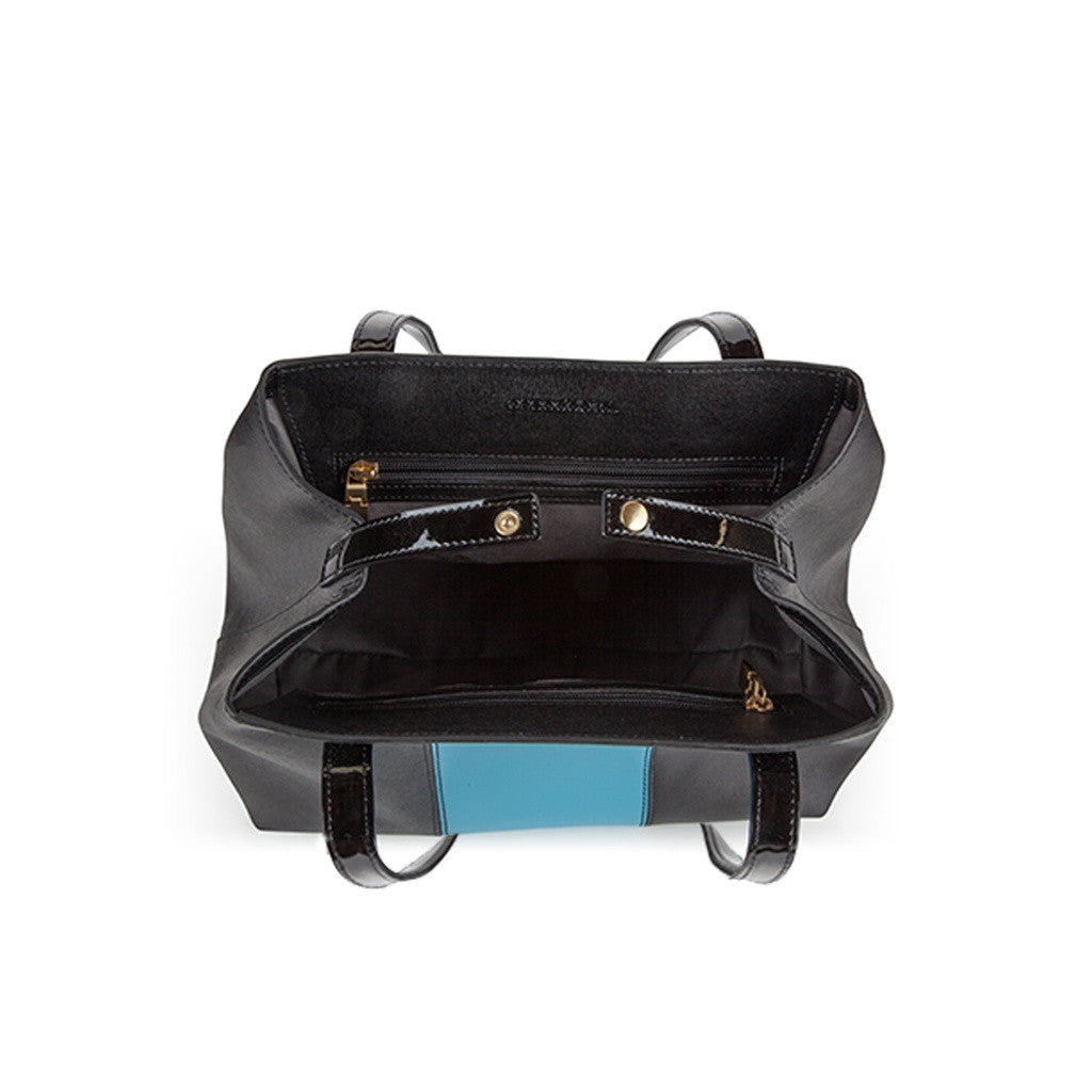 Black/Blue Saffiano Leather Handbag - Lorikeet - Stylemindchic Boutique - Curated Collections - 2