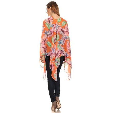 Womens Palm Trees Summer Poncho Cover Up - Stylemindchic Boutique - Curated Collections - 2