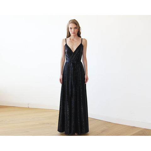 Metallic Black Wrap Gown With Slit