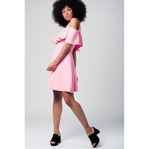 Pink midi dress with ruffle detail and off shoulder