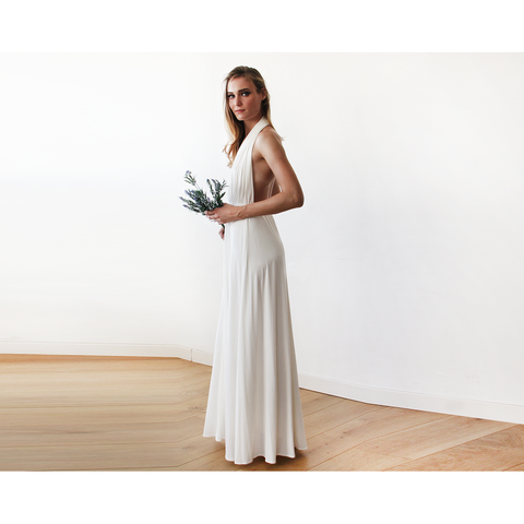 Ivory bridal halter-neck maxi dress