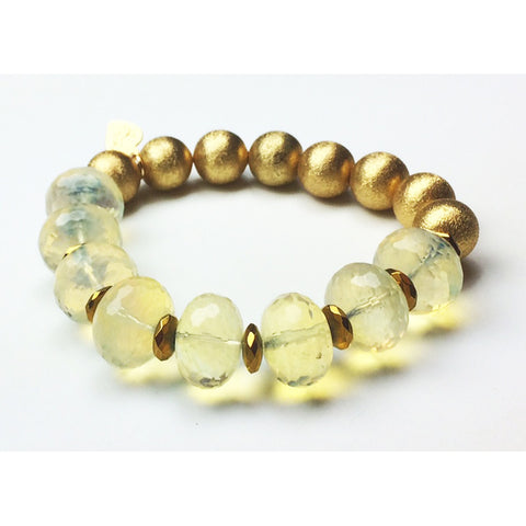 Smoky Quartz Gold Stretch Bracelet