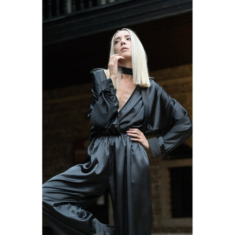 Black plunging neckline jumpsuit - Stylemindchic Boutique - Curated Collections - 1