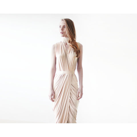 Champagne sleeveless tulip wrap maxi dress - Stylemindchic Boutique - Curated Collections - 1