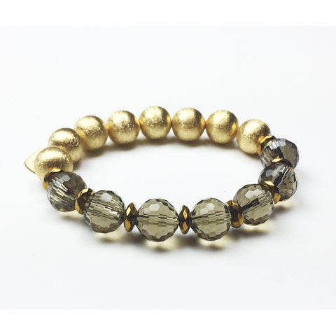 Smoky Quartz Gold Stretch Bracelet - Stylemindchic Boutique - Curated Collections - 1