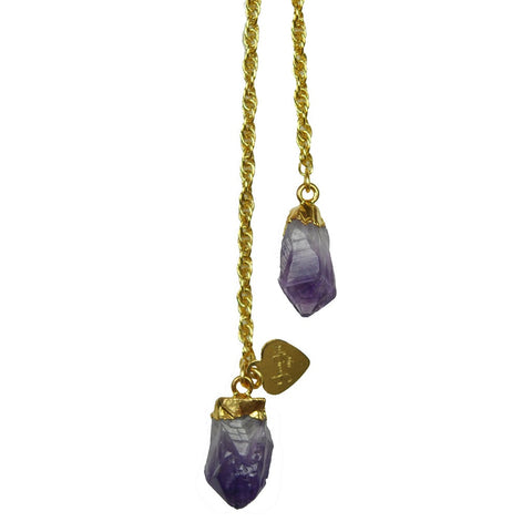Amethyst Druzy Lariat Necklace - Stylemindchic Boutique - Curated Collections - 2