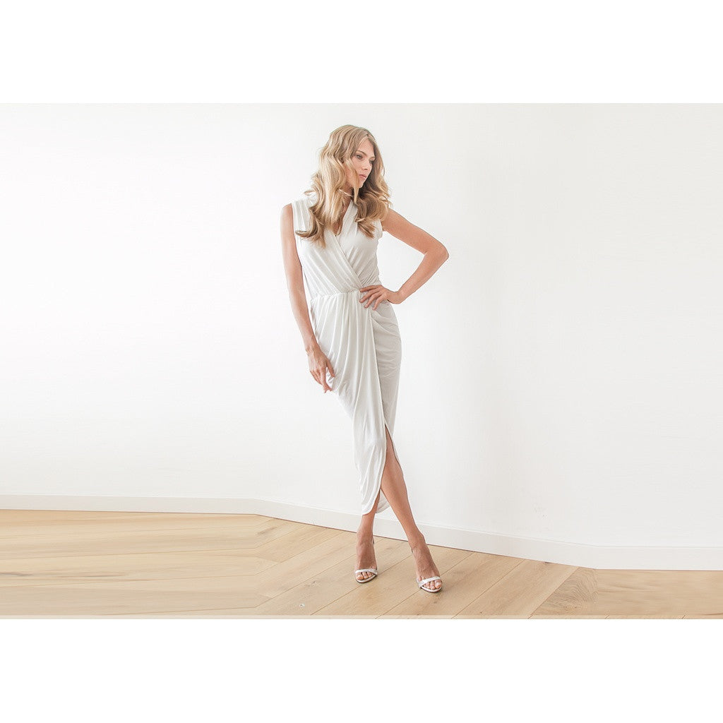 Champagne sleeveless tulip wrap maxi dress - Stylemindchic Boutique - Curated Collections - 3