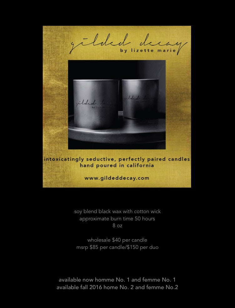 Gilded Decay Fine Fragrance Candles by Lizette Marie - Femme No.1