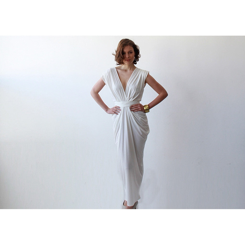 Ivory wedding backless maxi minimalist dress - Stylemindchic Boutique - Curated Collections - 3