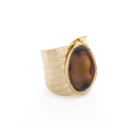 BRAZILIAN AGATE HAMMERED GOLD CUFF