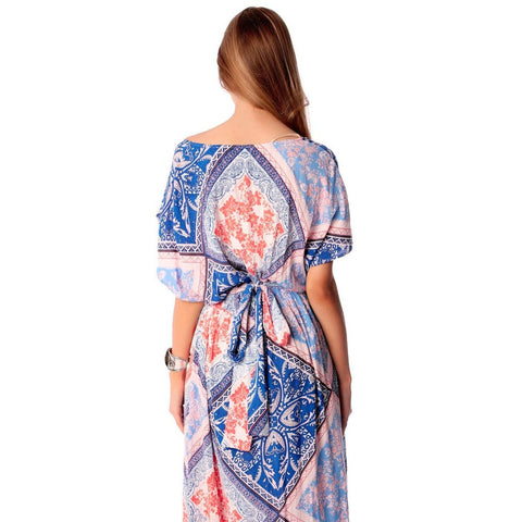 Blue maxi dress in mixed floral print