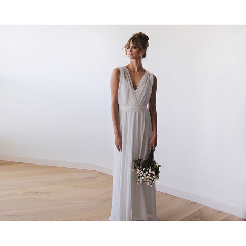 Ivory Sheer Chiffon Sleeveless Bridal Gown