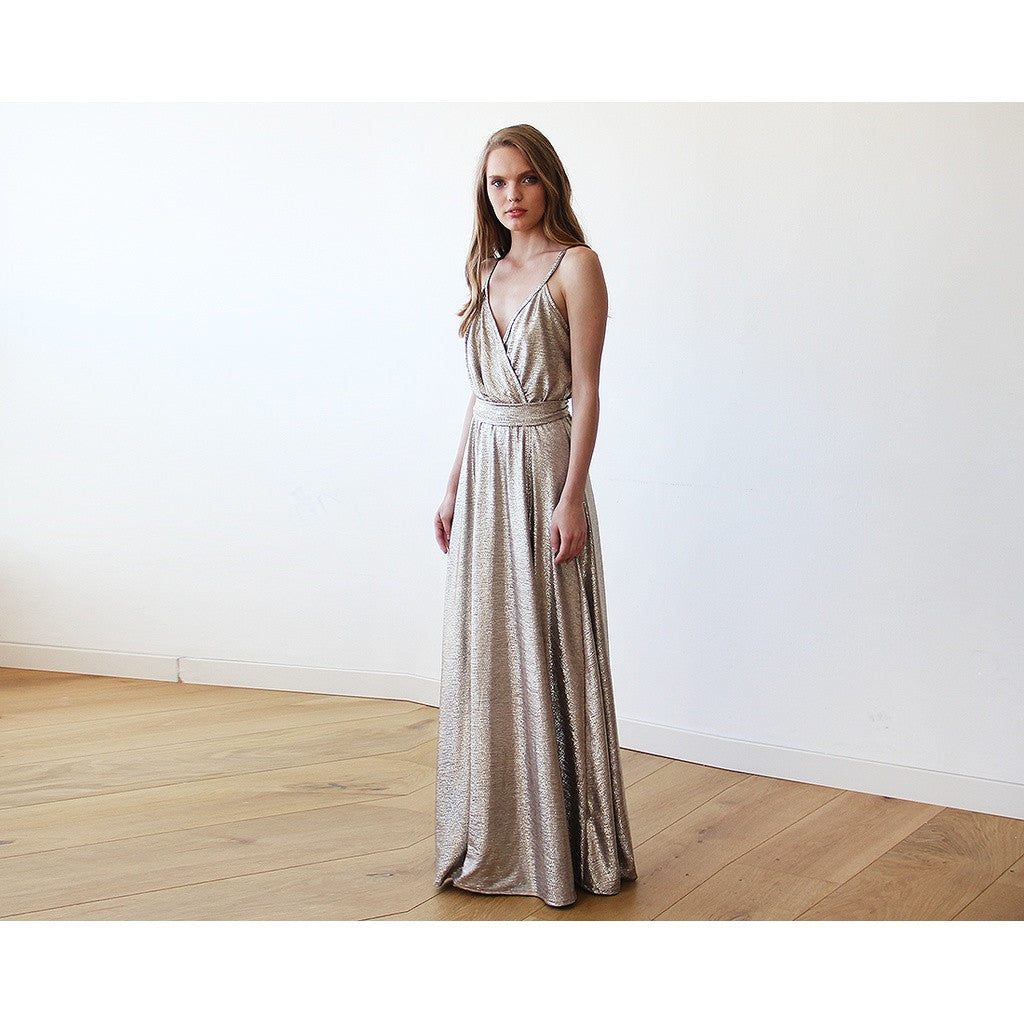 Metallic Gold Wrap Gown With Slit
