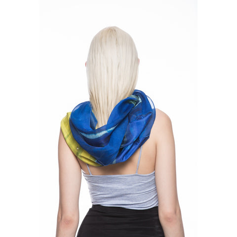 Mixed Silk Infinity Scarf in Royal Blue