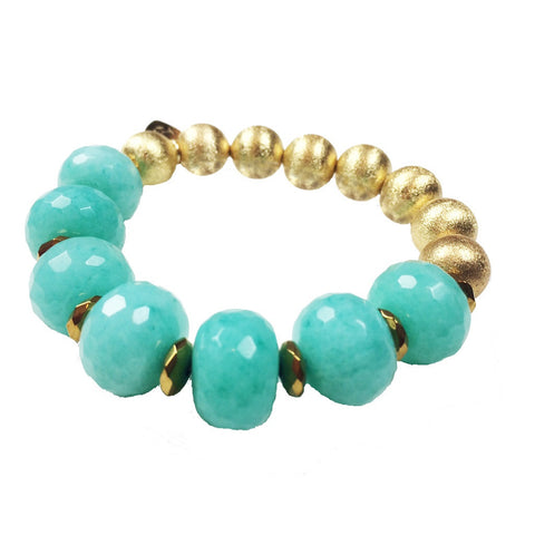 Sea Green Agate Gold Stretch Bracelet - Stylemindchic Boutique - Curated Collections - 1