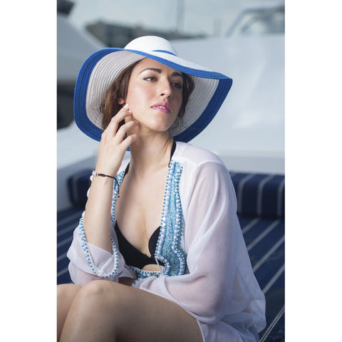 Beach Glam White & Blue Silk Kaftan - Stylemindchic Boutique - Curated Collections - 2