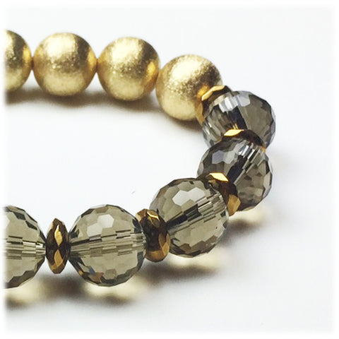 Smoky Quartz Gold Stretch Bracelet - Stylemindchic Boutique - Curated Collections - 2