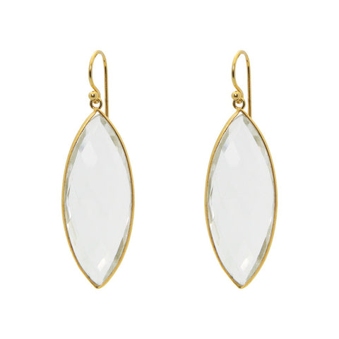 18k Gold Plated Silver Marquee Clear Quartz Hook Earrings by Fronay Collection