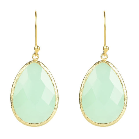 Gold Single Drop Earring Aqua Chalcedony - Stylemindchic Boutique - Curated Collections - 1