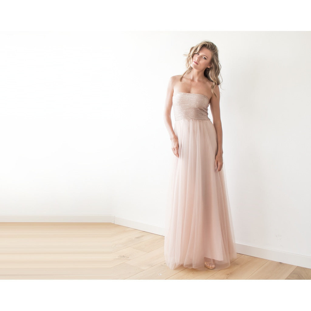 Pink sequin strapless maxi tulle dress - Stylemindchic Boutique - Curated Collections - 2