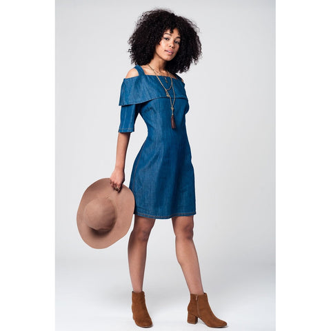 Dark denim cold shoulder ruffle midi dress