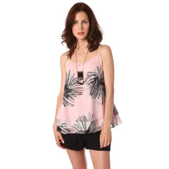 Pink double layer and strap cami in floral print