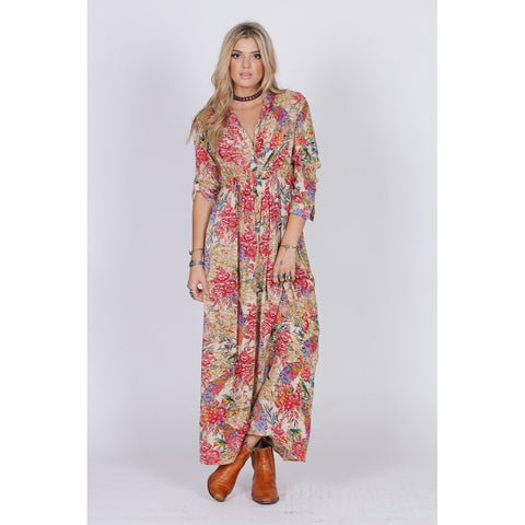 BIRDS OF PARADISE BUTTON DOWN MAXI - Stylemindchic Boutique - Curated Collections - 1