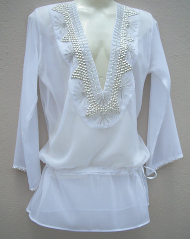Beach Glam White and Silver Silk Caftan with silver and crystal - Style*Mind*Chic Boutique - Curated Collections