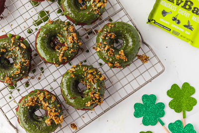 Vegetarian Matcha Glazed Chocolate Donuts