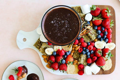 Vegan Salted Dark Chocolate Fondue Dessert Charcuterie Board