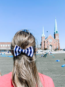 Nashville Bow Co. | Navy and White Ponytail Bow