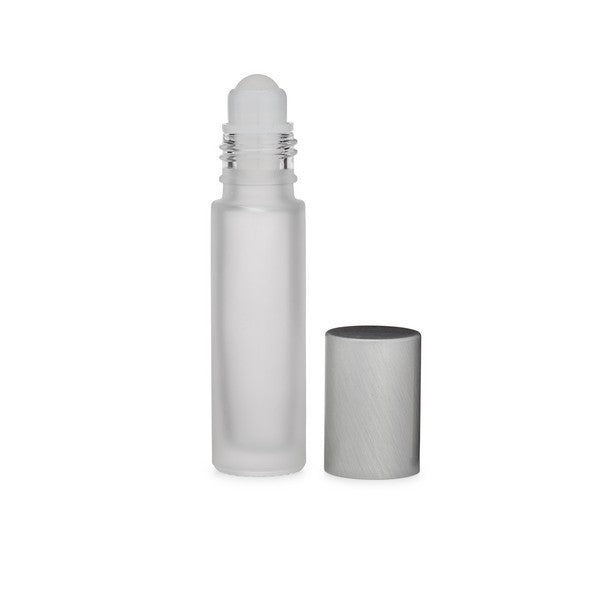 Frosted Glass Roller Bottle w/ White Cap, .35 oz