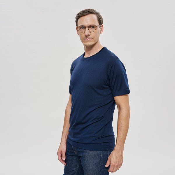 The Merino Wool T-Shirt for Men Navy Blue Woolday 2