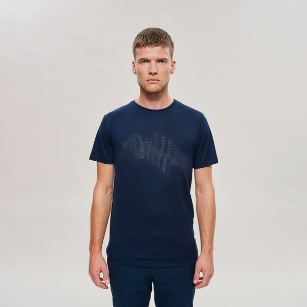The Merino Wool T-Shirt Mountain Navy Blue Woolday 1