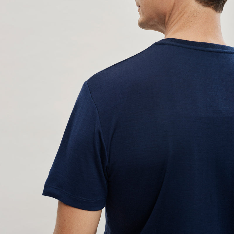 The Merino Wool T-Shirt Mountain Navy Blue Woolday 3