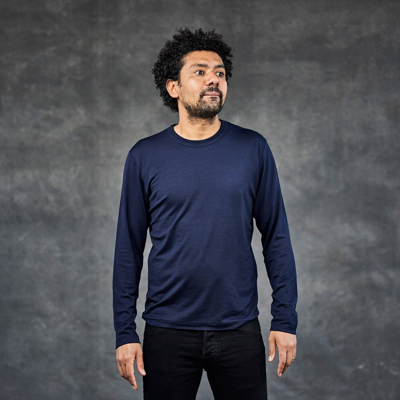 The Merino Wool Long Sleeve T-Shirt Navy Blue Woolday 6