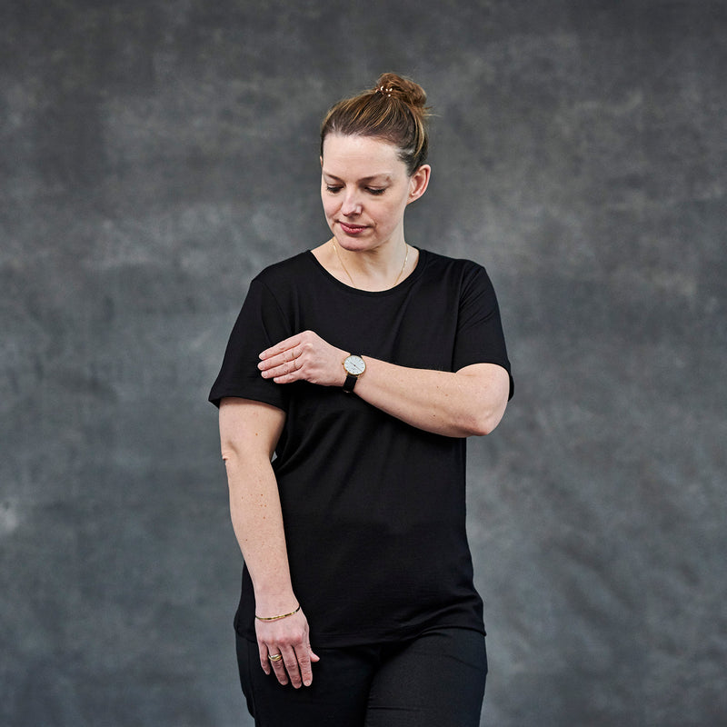 The Merino Wool T-Shirt for Women Black Woolday 1