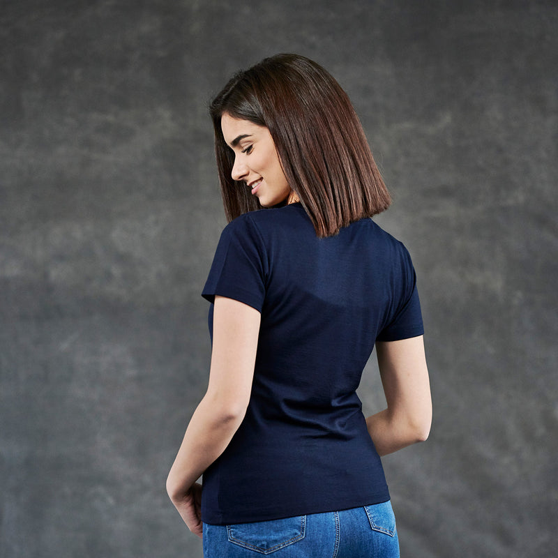 The Merino Wool T-Shirt for Women Navy Blue Woolday 2