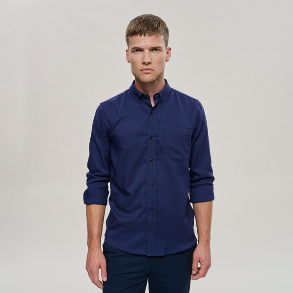 The Merino Wool Oxford Shirt Navy Blue Woolday 1