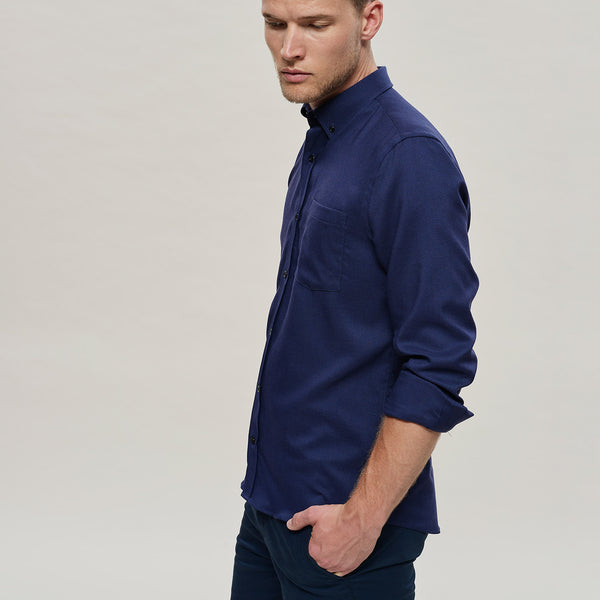 The Merino Wool Oxford Shirt Navy Blue Woolday 2