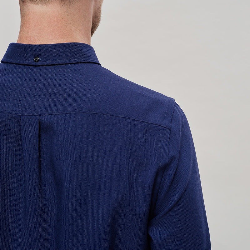 The Merino Wool Oxford Shirt Navy Blue Woolday 3