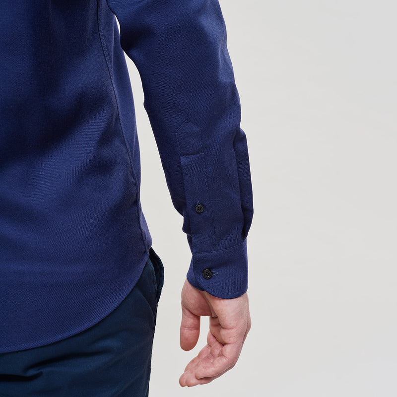 The Merino Wool Oxford Shirt Navy Blue Woolday 4