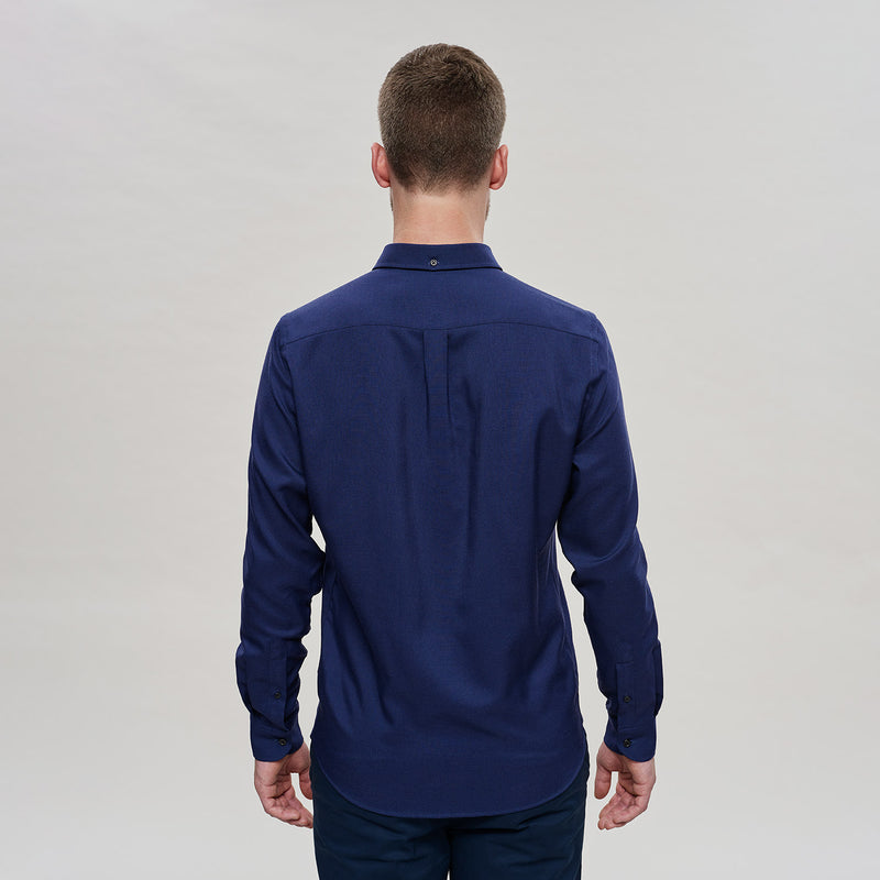 The Merino Wool Oxford Shirt Navy Blue Woolday 5