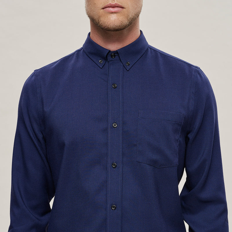The Merino Wool Oxford Shirt Navy Blue Woolday 6